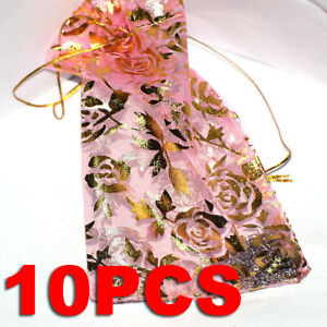 10Pcs Sheer Organza Wedding Party Favor Gift Candy Bags Jewelry Pouches 11X16cm