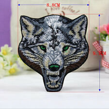 Embroidered Sew Iron on Patch Badge Wolf Shape Bag Cloth Applique Fabric
