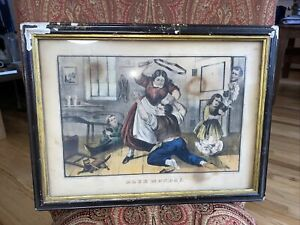 "Rare Currier & Ives 1867 Hand Painted Lithograph ""Blue Monday"""
