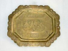 Antique Old Hand Carved Brass Hindu God Ram And Laxman Carved Tray / Plate India