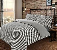 Gingham Check Yarn Dyed 100%Cotton T200 Quilt Duvet Cover Reversible Bedding Set