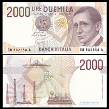 Italy 2000 2,000 Lire Banknote, 1990, P-115, UNC, Europe Paper Money