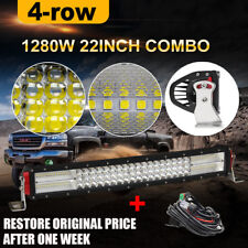 "12D 22"" 1280W QUAD ROW CURVED LED LIGHT BAR SPOT FLOOD BEAM PK 10D 24"" 23"" 20"""