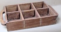 Distressed Solid Wood six storage Wine CaddyHolder Tote Basket crate carrier #2