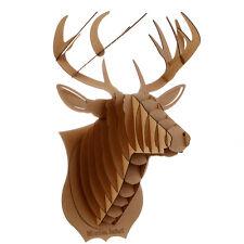 Decoration murale Kit Trophee de chasse Puzzle 3D carton Tete cerf Large MARRON