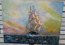 Tableau Huile sur toile 1956 MARINE VOILIER frégate de guerre l'Hermione