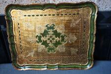 "18""Italian Florentine Toleware Serving Wood Tray Platter Gilt&Green Art Nouveau"