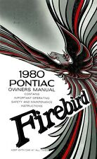 1980 Pontiac Firebird Owners Manual User Guide Reference Operator Book