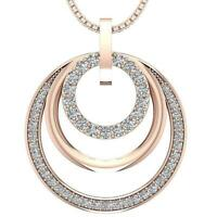 3 Circle Pendant Necklace Natural Diamond I1 H 1.10Ct Prong Set 14Kt Solid Gold
