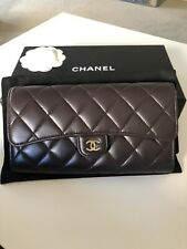 Authentic CHANEL Quilted Lambskin Purple Wallet