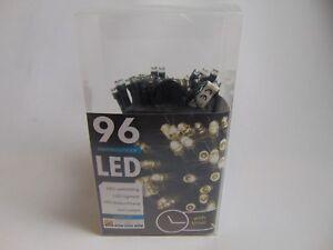 LED Lichterkette Batterie mit Timer für innen und außen warmweiß 96 LED`s