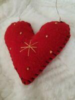Primitive Heart Christmas  Ornament  Fabric Handmade