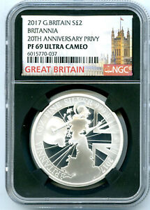 2017 GREAT BRITAIN 1OZ SILVER PROOF 20TH ANNIV BRITANNIA NGC PF69 UCAM