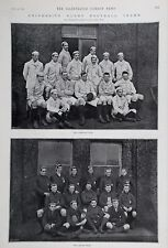 OLD ANTIQUE PRINT Oxford Cambridge University Rugby les équipes de football c1894