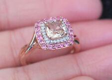 New 14K Sz7 Natural Pink Morganite, Tourmaline & Diamond Halo Ring Rose Gold