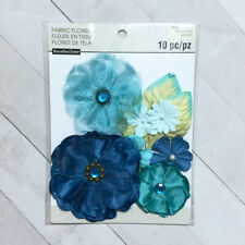 Fabric Flower Embellishments 10 pcs Blue Teal Aqua Dimensional Craft Scrapbook
