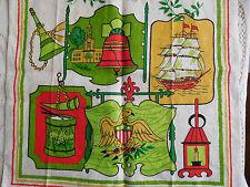 Vtg Linen Americana Tea Towel Kitchen Eagle Liberty Bell Ship Patriotic USA