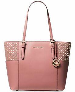 Michael Kors Jet Set Rose Pink  Leather Suede Gold Stud Travel Tote Shoulder Bag
