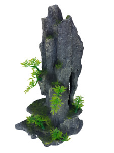 Rock Peak and Plants Fish Tank Aquarium Ornament,14 Inches Tall, with Cave