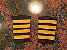 4 Bar Professional Airline Pilot Epaulets for Captain. Gold stripes on black.