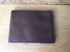 Lodis brown rich Pebble Grain Leather Men's Billfold Wallet no id slot