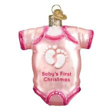 PINK BABY GIRL'S FIRST CHRISTMAS OUTFIT OLD WORLD CHRISTMAS GLASS ORNAMENT 32338