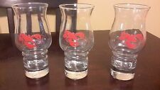 3 LIBBEY RED LOBSTER EMBOSSED HURRICANE DRINKING GLASSES 16oz COCKTAIL BARWARE