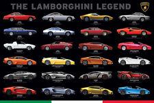 THE LAMBORGHINI LEGEND 24 Models 1964-Present Supercar Official Wall POSTER