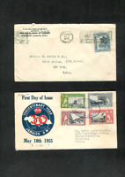 JAMAICA Covers Two Diff. 1929 to New York & 1955 Reg'std to Charlottesville, VA.