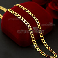 18K GOLD FILLED MENS WOMENS 4MM FLAT CURB RING CHAIN SOLID NECKLACE JEWELRY 60CM