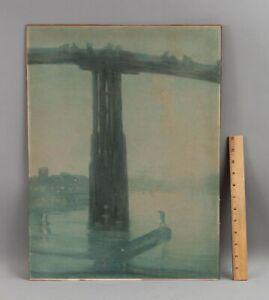 Antique FRANZ HANFSTAENGL Nocturnal Battersea Bridge Lithograph Print, WHISTLER