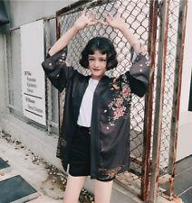 Ladies Chiffon Cardigan Japanese Kimono Harajuku Blouse Casual Floral Tops Black