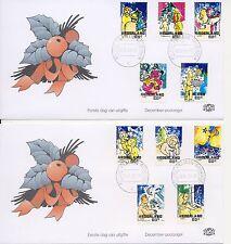 Decemberzegels 2000 op 4 Edel FDC's - Blanco / Open klep