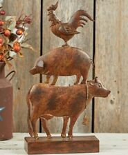 Stacked Farm Animal Sculpture - Decorative Cow, Pig Rooster - Rustic Brown Metal