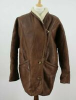 YORN Paris Brown Leather Shearling Jacket size 40