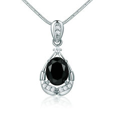Mystery Black Crystal Ribbon Pendant White Gold Filled Women Lady Party Necklace