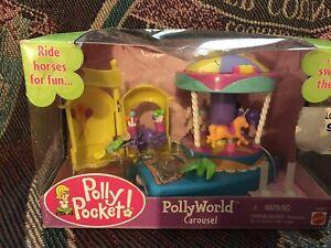 2002 Polly Pocket Vintage Amusement Park PollyWorld Carousel Bluebird Toys