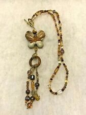 Picture Jasper Butterfly Beaded Necklace with Tassel Approx. 20 In. Neck Opening