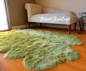 "84"" x 58"" Olive Green Sheepskin Area Rug Acrylics Quad Nursery Accents Cute Rugs"
