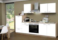 Küchenblock mit Elektrogeräten und Spüle Classic 270 cm breit in weiß matt