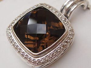 $1650 DAVID YURMAN SS ALBION LARGE SMOKY QUARTZ DIAMOND ENHANCER