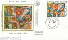 1987**ENVELOPPE SOIE**FDC 1°JOUR!!**PEINTURE DE BRAM VAN VELDE**TIMBRE Y/T 2473