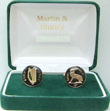 coins in Black & Gold 1943 Old Irish 3D cufflinks real