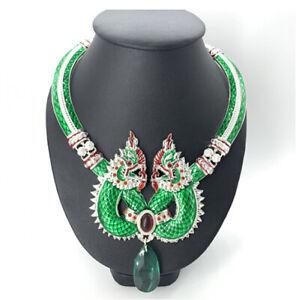 Naga Necklace Vintage Pendant Talisman Dragon Thai Buddhist Amulet Gem Jewelry