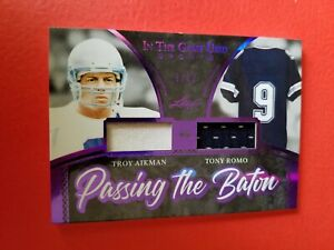 TONY ROMO TROY AIKMAN GAME USED JERSEY PATCH CARD #d9/12 LEAF ITG DALLAS COWBOYS