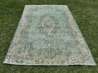 Anatolian Traditional Green Vintage Carpet Turkish Hand Knotted Area Rug 5x9 ft