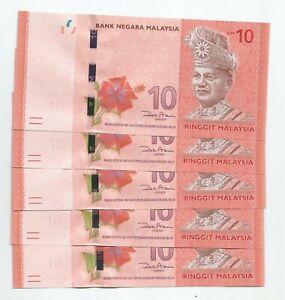 Malaysia RM10, 12th Series, First Prefix AA, 5pcs running no. (UNC)