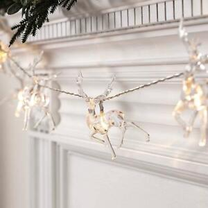 10 Battery Operated Warm White Led Reindeer Fairy String Lights Xmas Decor