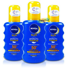 3x Nivea Moisturising Sun Spray SPF50+ UVA/UVB Protection 200ml Water Resistant