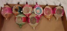 LOT OF 8 Vintage Mercury Glass Indent Tear Drop Christmas Ornaments